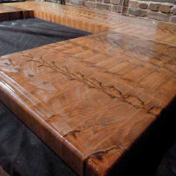 hand crafted butcher block island counter top with cut out