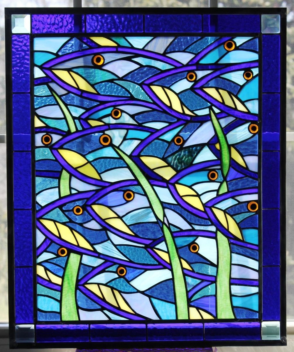 Hand Made Stained Glass Bluefish Panel For Beach House By