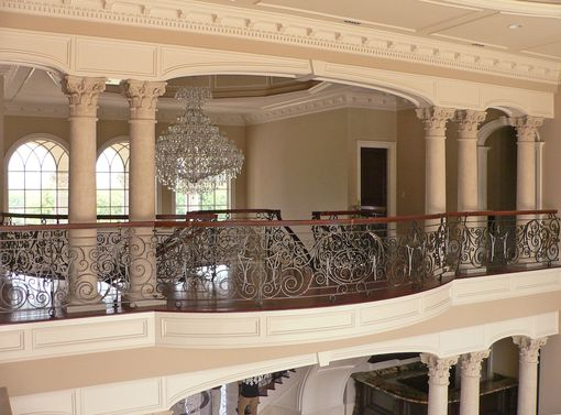 Custom Made Exquisite Hand Forged Railing For Curving Staircase