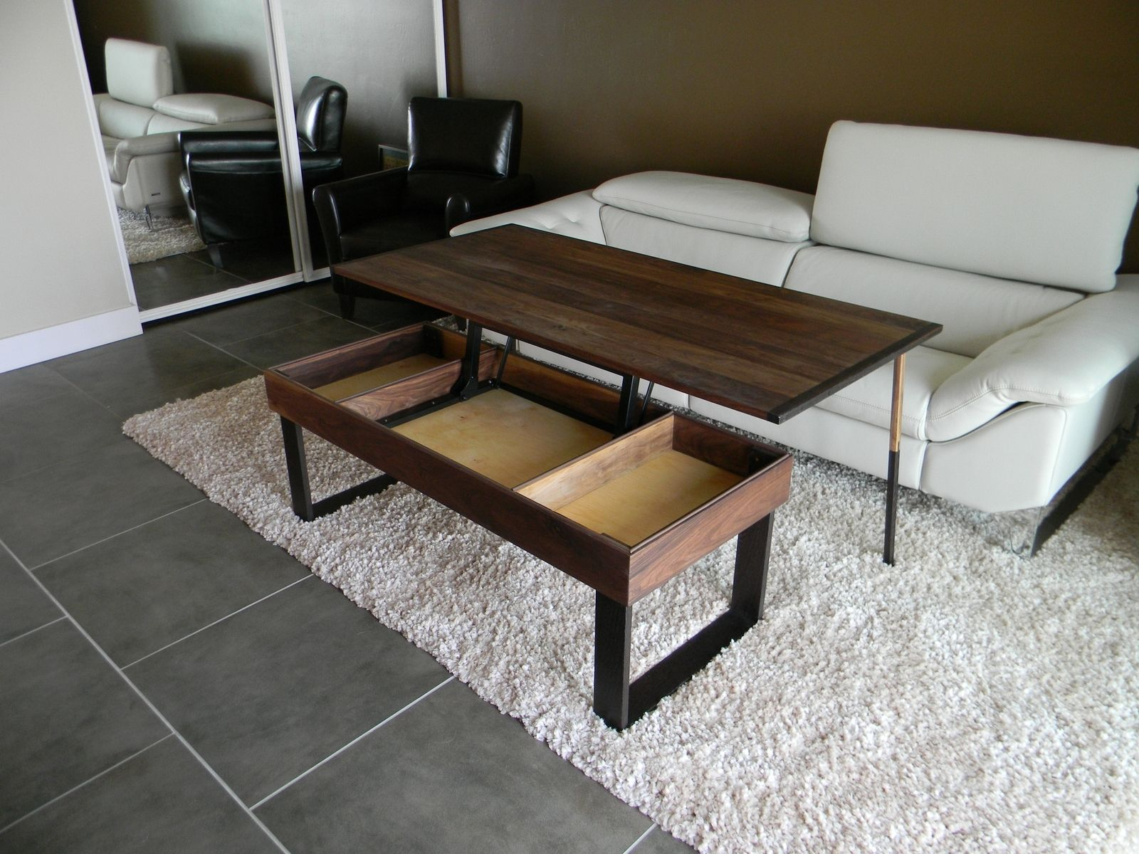 Up with Lift Top Coffee Table and white sofa
