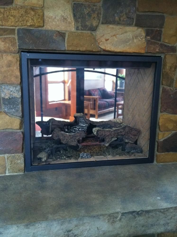 custom made custom fireplace screen for see through gas fireplace