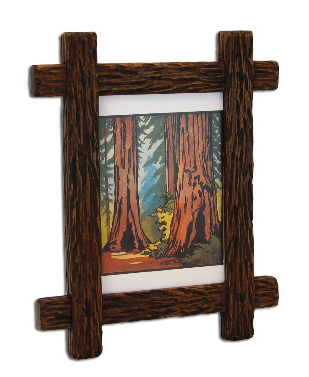rustic wood picture frame hand made lodge cabin farmhouse |Rustic Wooden Picture Frame
