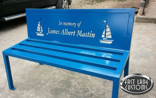 Hand Made Memorial Personlized Bench By Fast Lane Metalworks