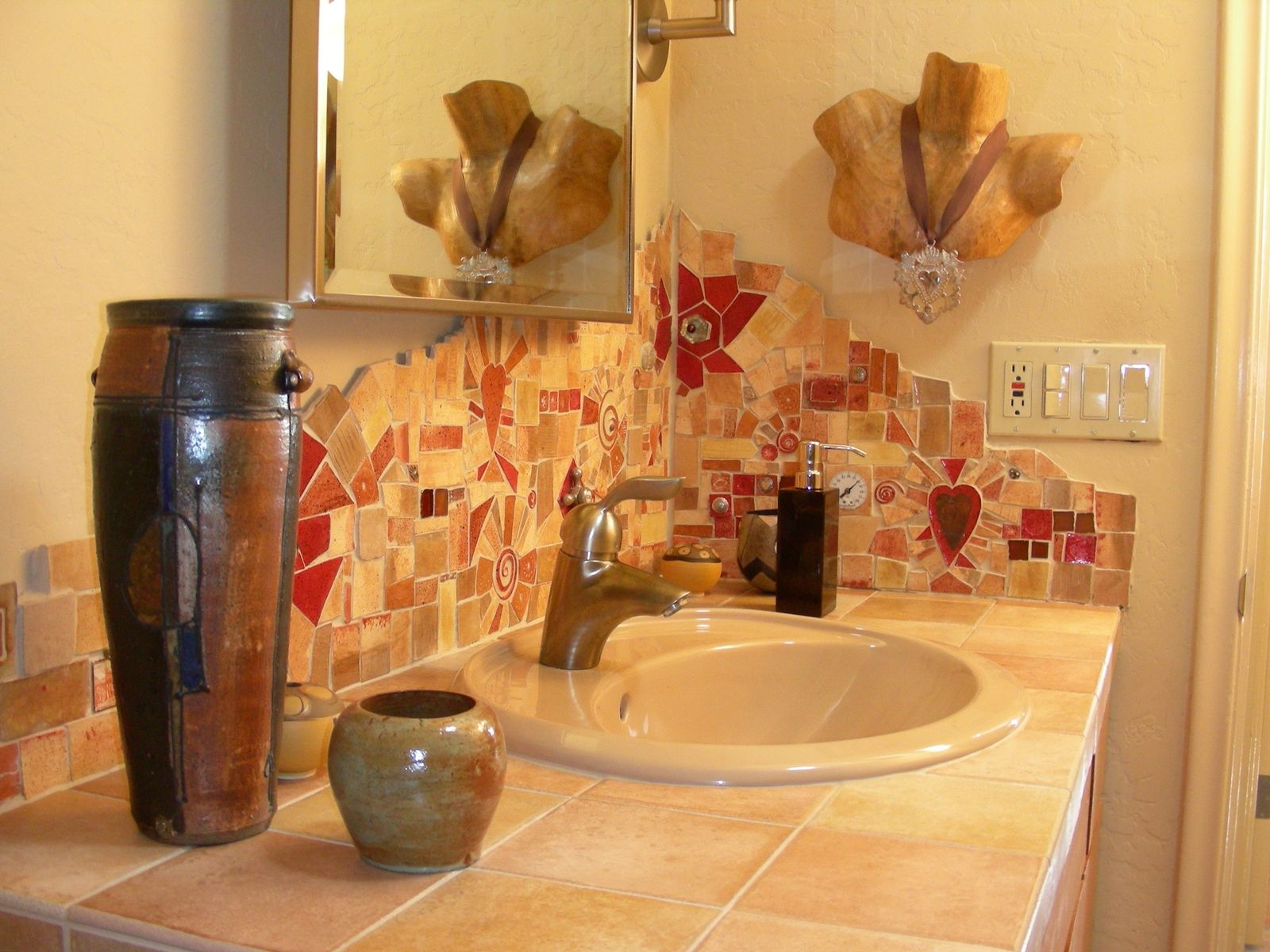 Custom made hand made tile mosaic bathroom backsplash by Bathroom designs with tile backsplashes