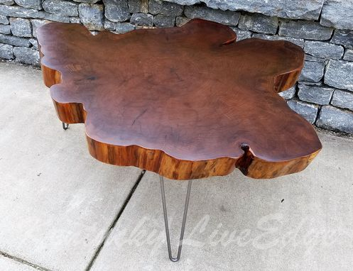 Hand Crafted Big Round Coffee Table Live Edge Slab Table