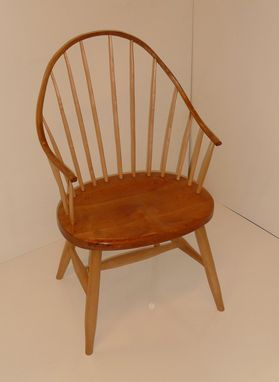 Custom Made Cherry And Maple Continuous Arm Windsor Chair