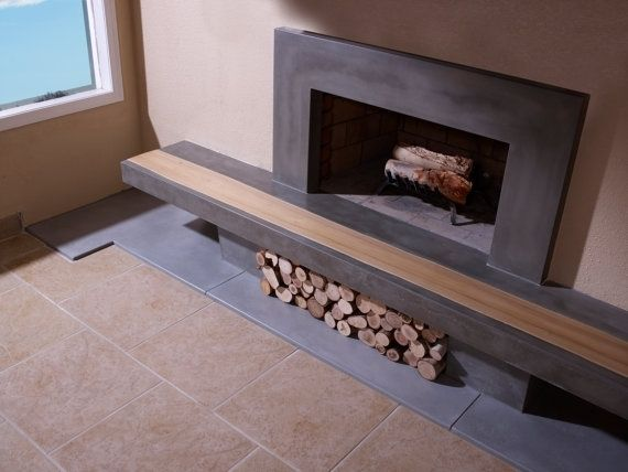 Hand Made Concrete Fireplace Surround Amp Hearth With Wood