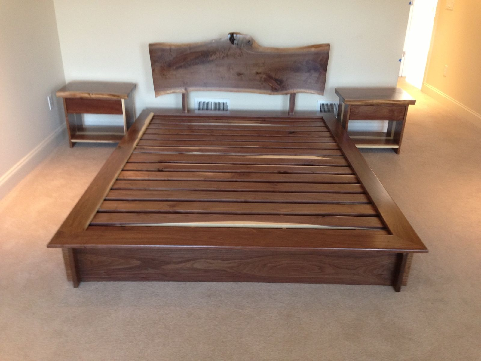 Ebern Designs Nageshwar Platform Bed Reviews: Handmade Queen Bed And Matching Night Stands By Saw Tooth