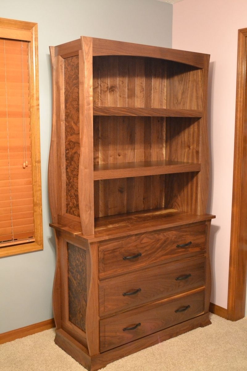 Custom Walnut Dresser With Bookcase By O Donnell Woodcraft