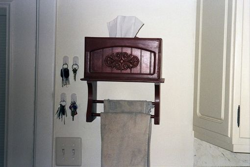 Custom Made Kleenex Box Holder And Dish Towel Rack