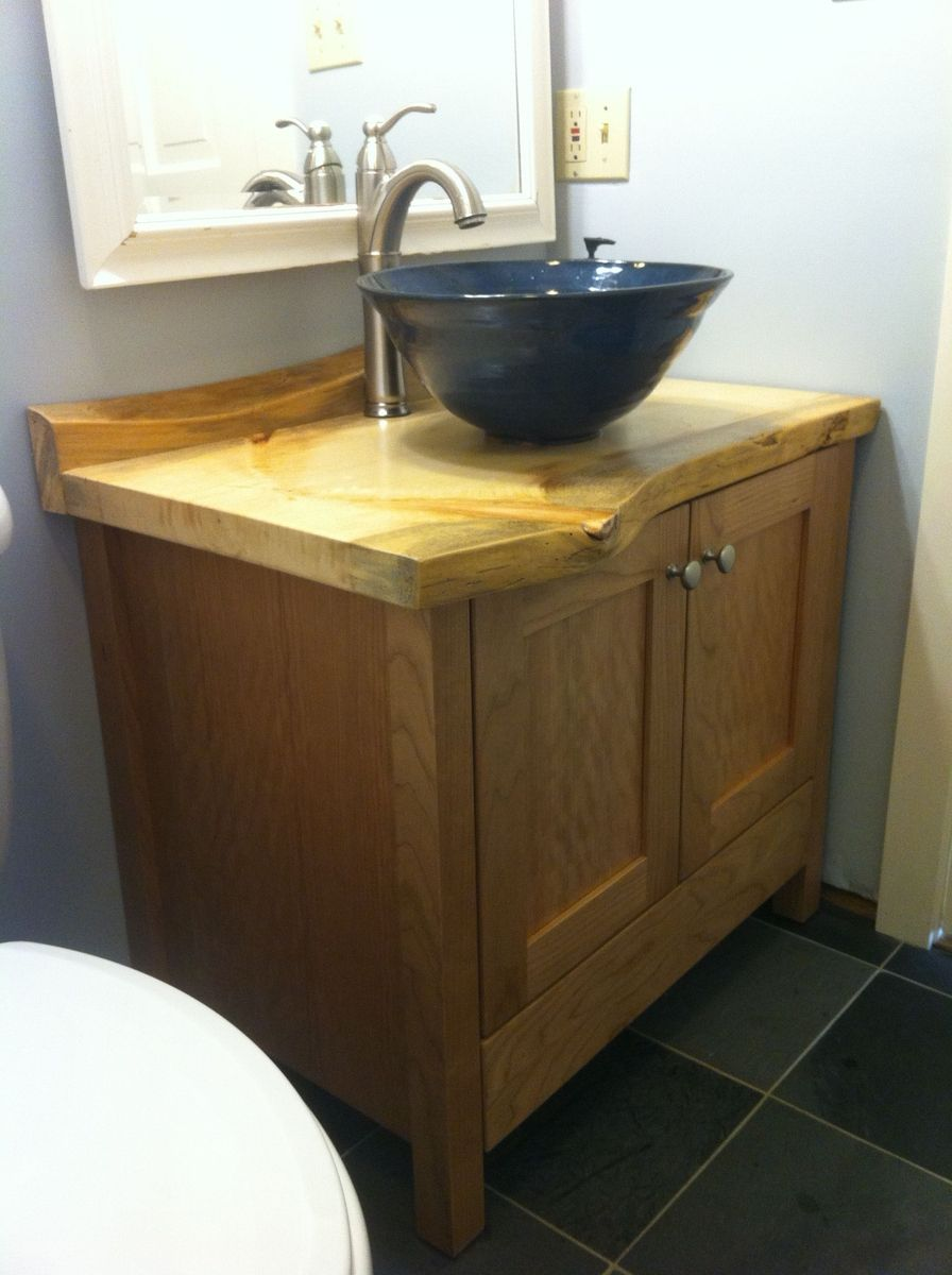 Custom Made Cherry Bathroom Vanity With Live Edge Pine