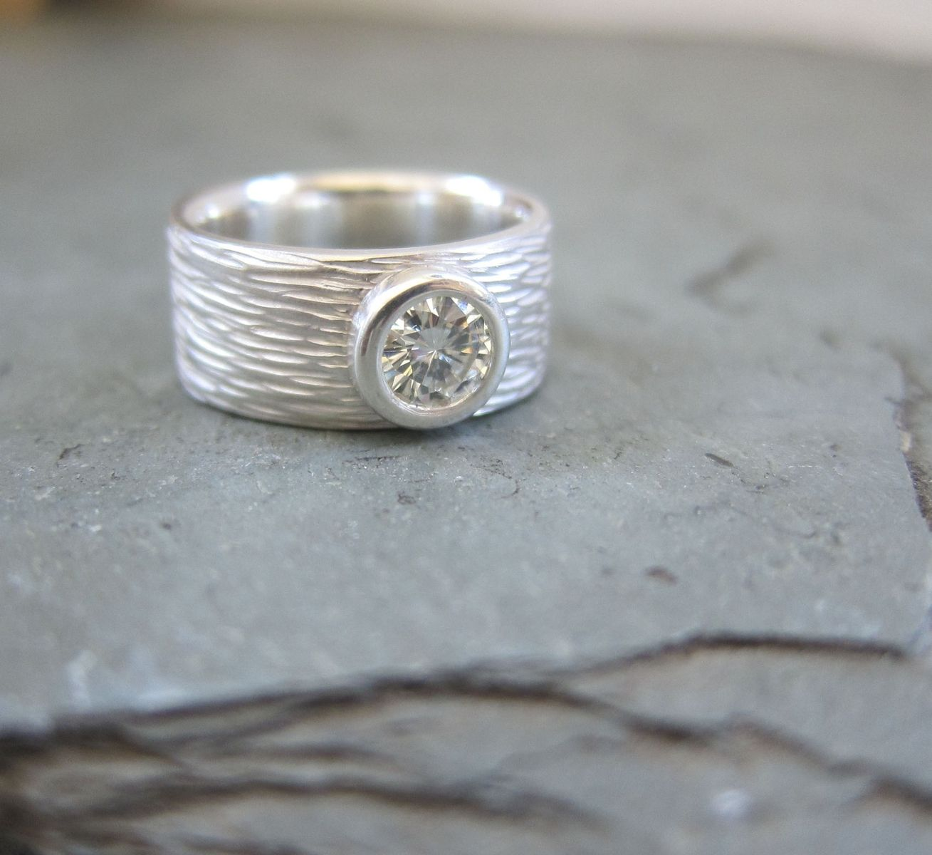 made bezel set wedding engagement ring by trudesign