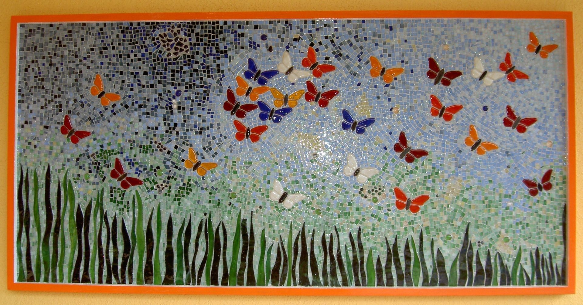 Hand crafted wall decor butterfly mosaic i by aval glass for Butterfly mural ideas