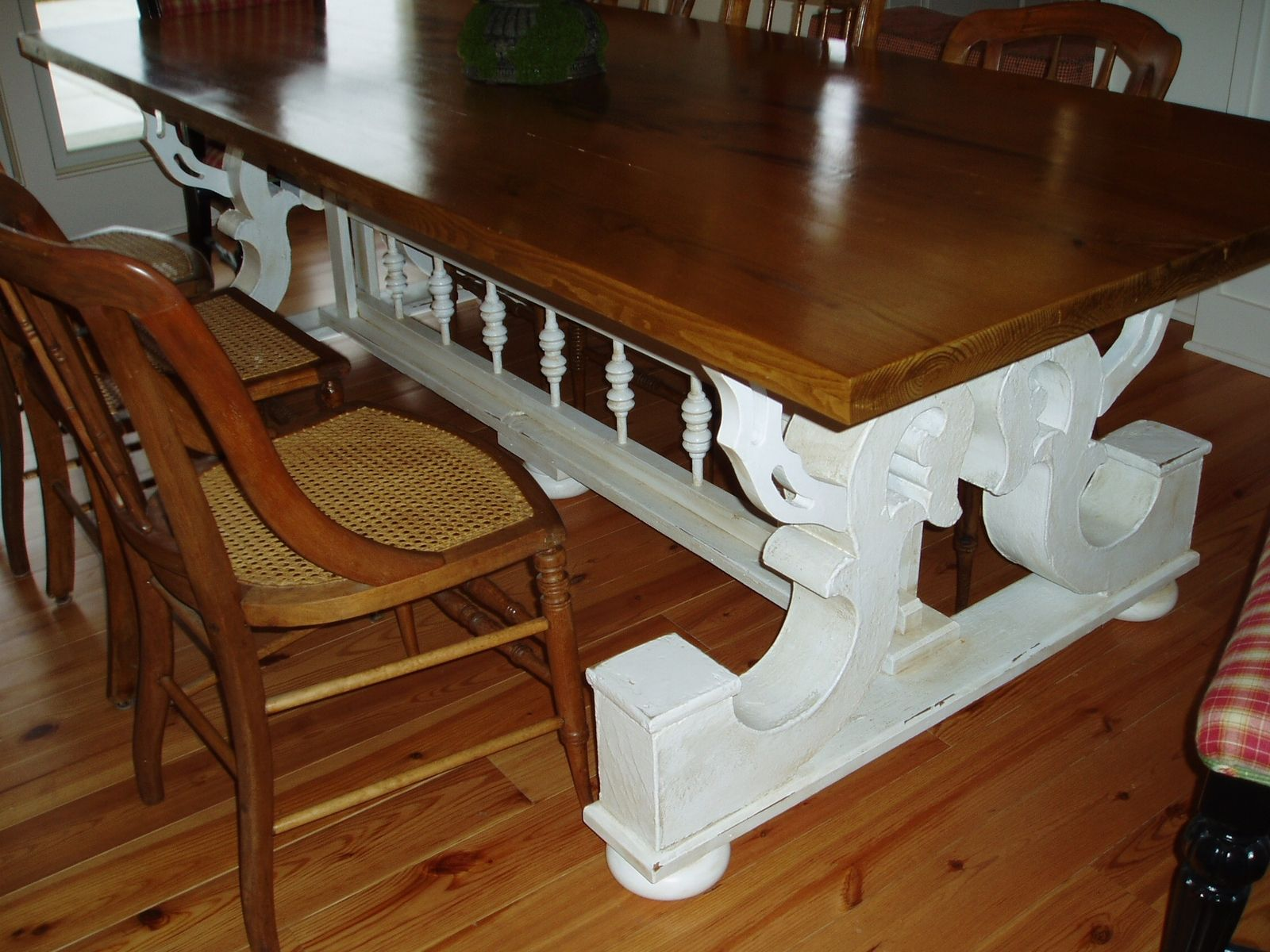 Hand Made Harvest Table Supported By Architectural Corbels