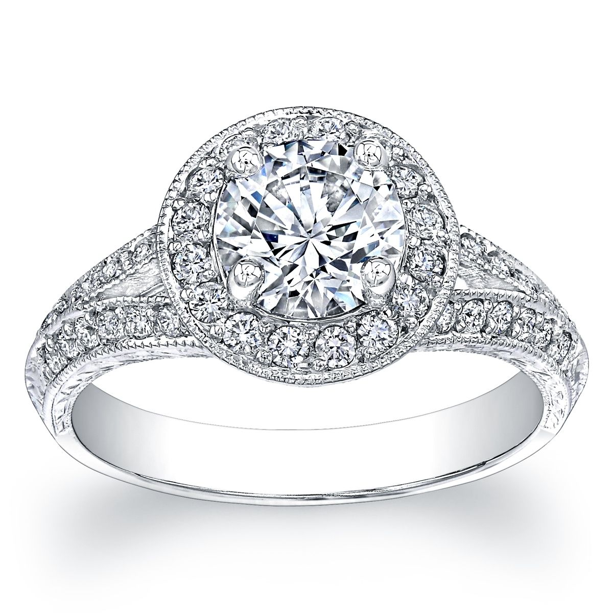 Buy A Hand Made Ladies Split Pave Antique Engagement Ring