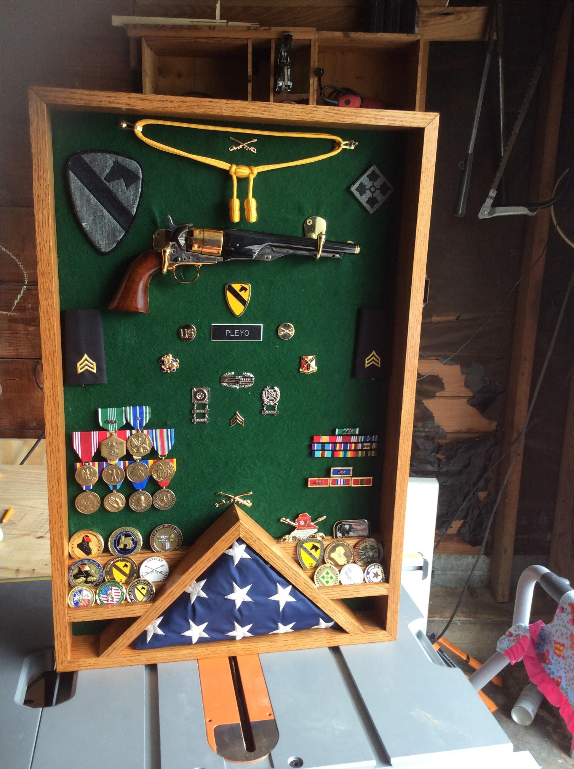 Buy A Hand Made Red Oak Military Shadow Box Made To Order