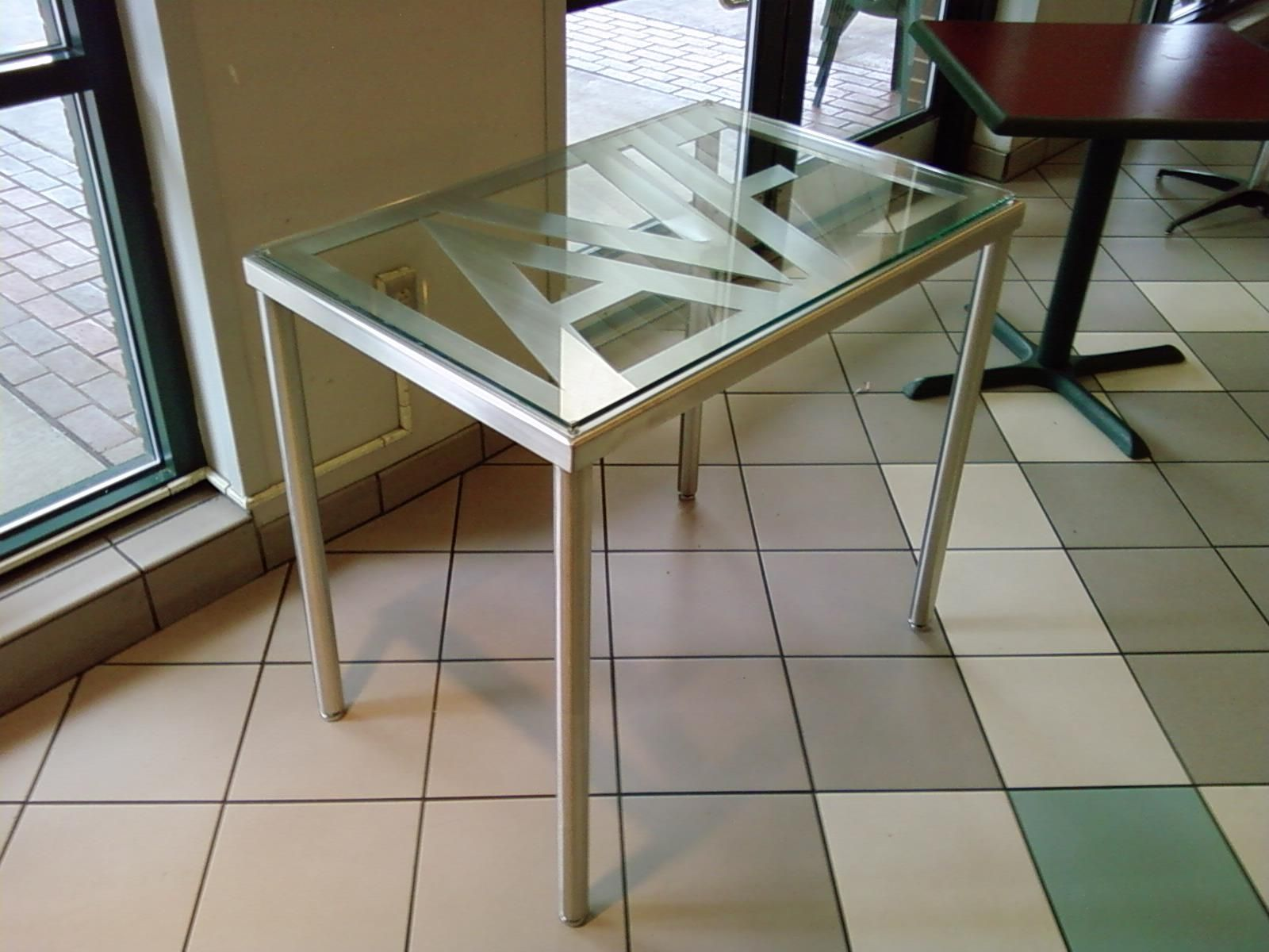 Hand Made Personalized Glass And Stainless Steel Table By
