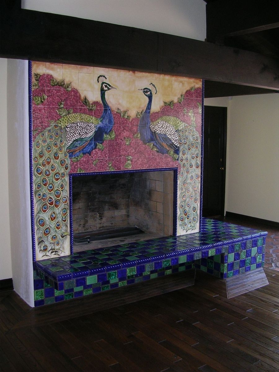 Custom Made Ceramic Tile Peacock Fireplace by The Clay ...