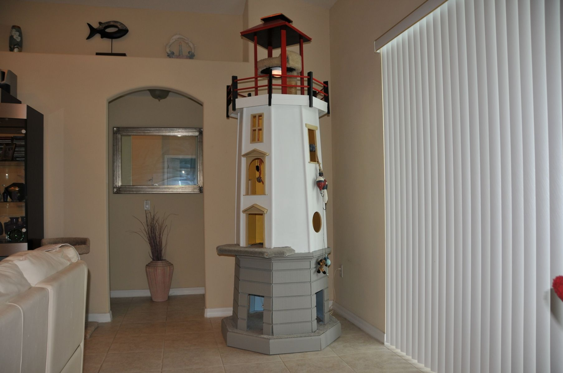 handmade lighthouse cat tower by square paws custommadecom