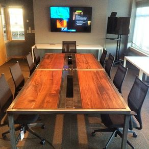 Hand Made Live Edge Walnut Conference Table By K Modern