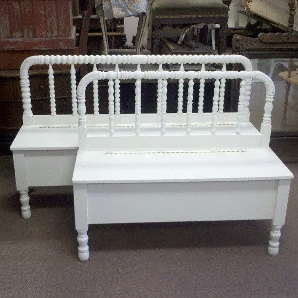 Antique Headboard Bench: Handmade Spool Headboard Bench With Storage By Playing On