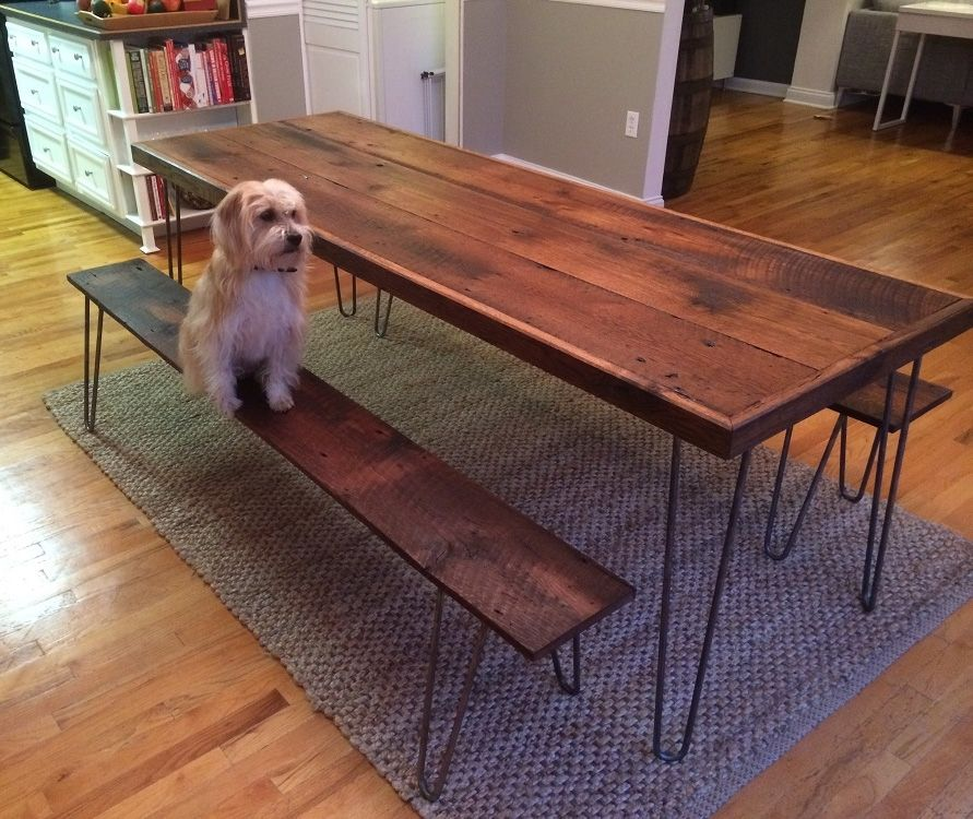 Hand Crafted Dining Table And Benches Reclaimed White Oak