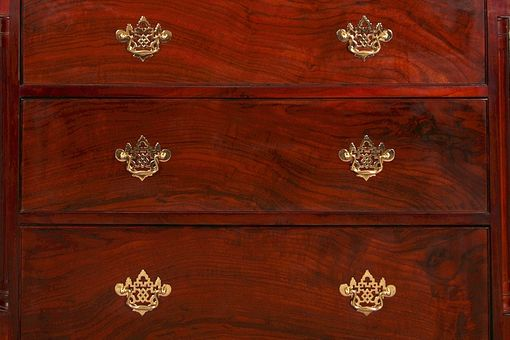 Custom Made Chippendale Style Walnut Chest On Chest Dresser