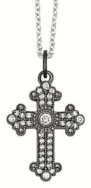 Custom Made Cross Black Rhodium With Diamonds