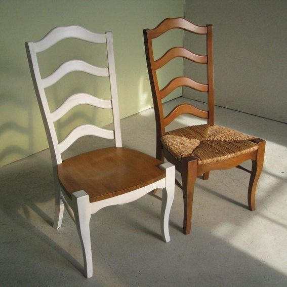Hand Made White French Ladder Back Dining Room Chairs By