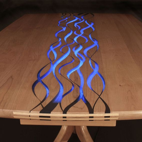 Hand Crafted Quot Confluence Quot Resin Inlaid Dining Table Or