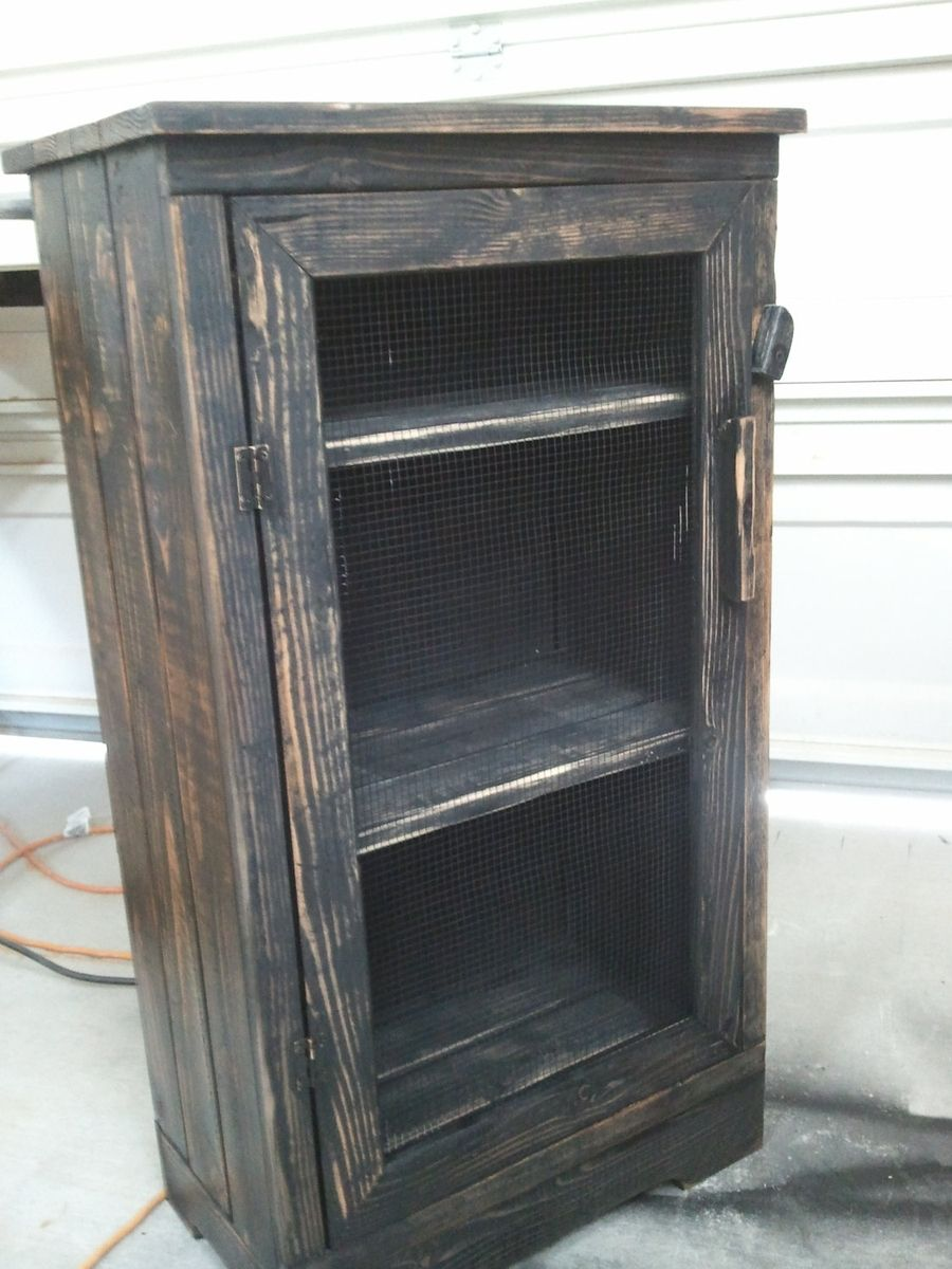 Hand made black distressed wood jelly storage cabinet by for Custom wood cabinets