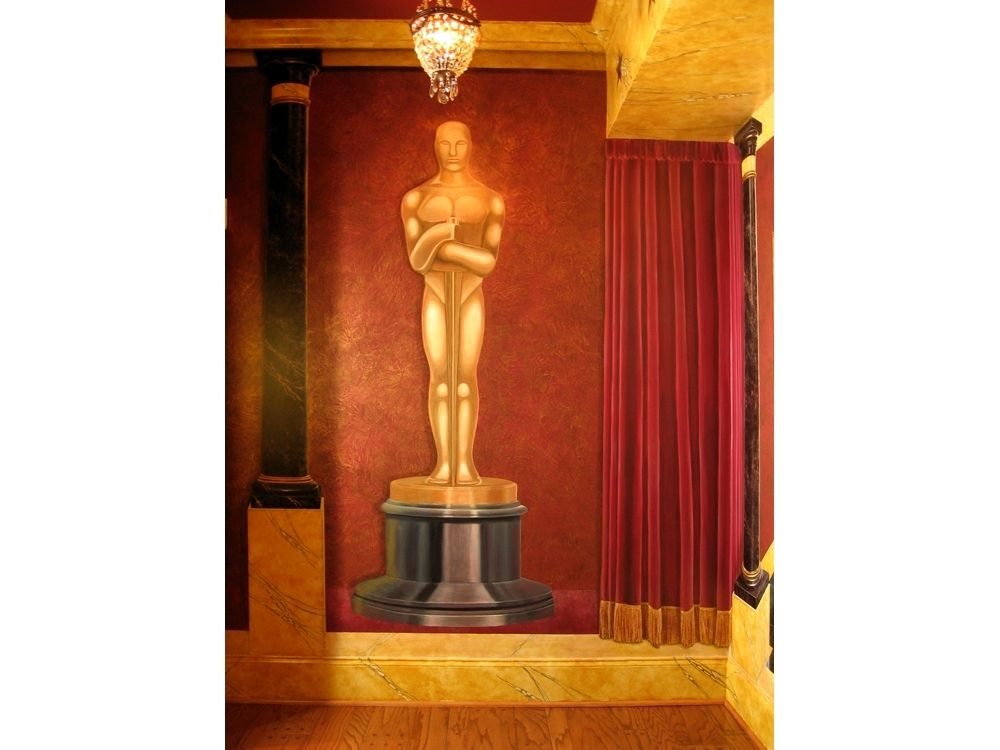 Handmade art deco movie palace trompe l 39 oeil mural by for Deco trompe l oeil mural