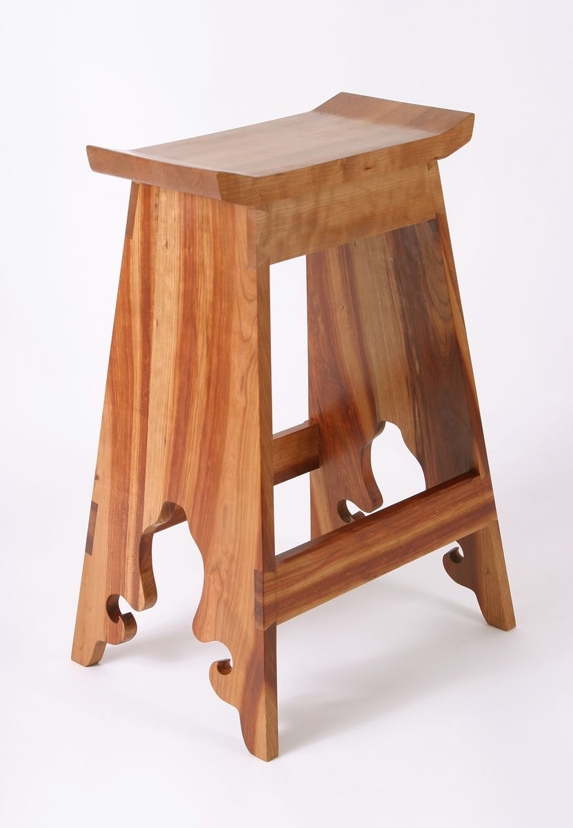 Hand Crafted Custom Japanese Cherry Saddle Stools By