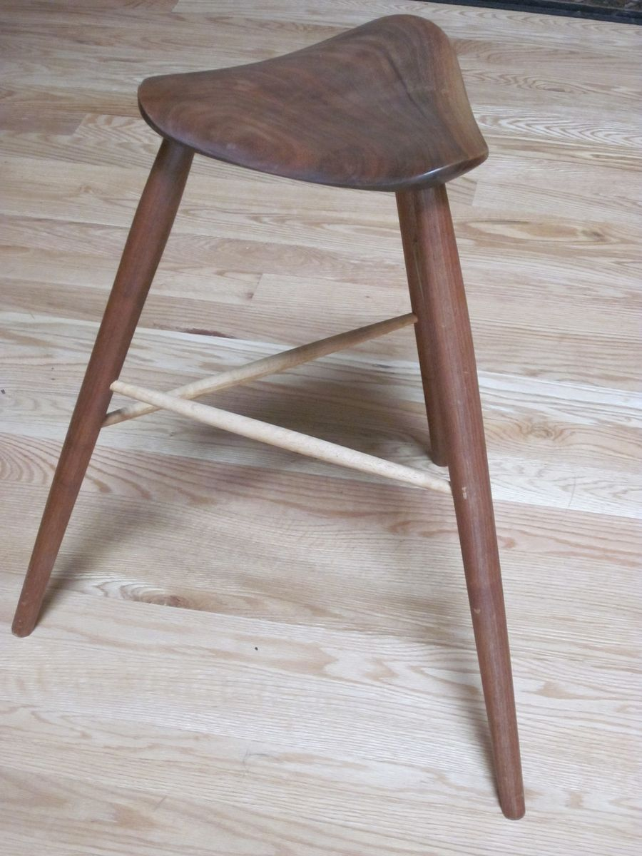 Hand Crafted 3 Legged Stool With Carved Seat By