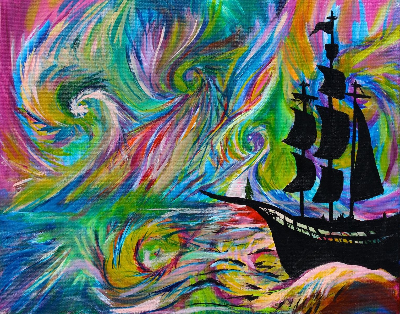 Handmade Painting  Psychedelic Ship Pirate Ship Silhouette Abstract Trippy by Big Bang - Buddha Inspired Home Decor
