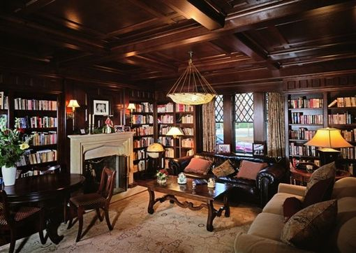 Custom Made Office - Library With Paneling & Coffered Ceiling