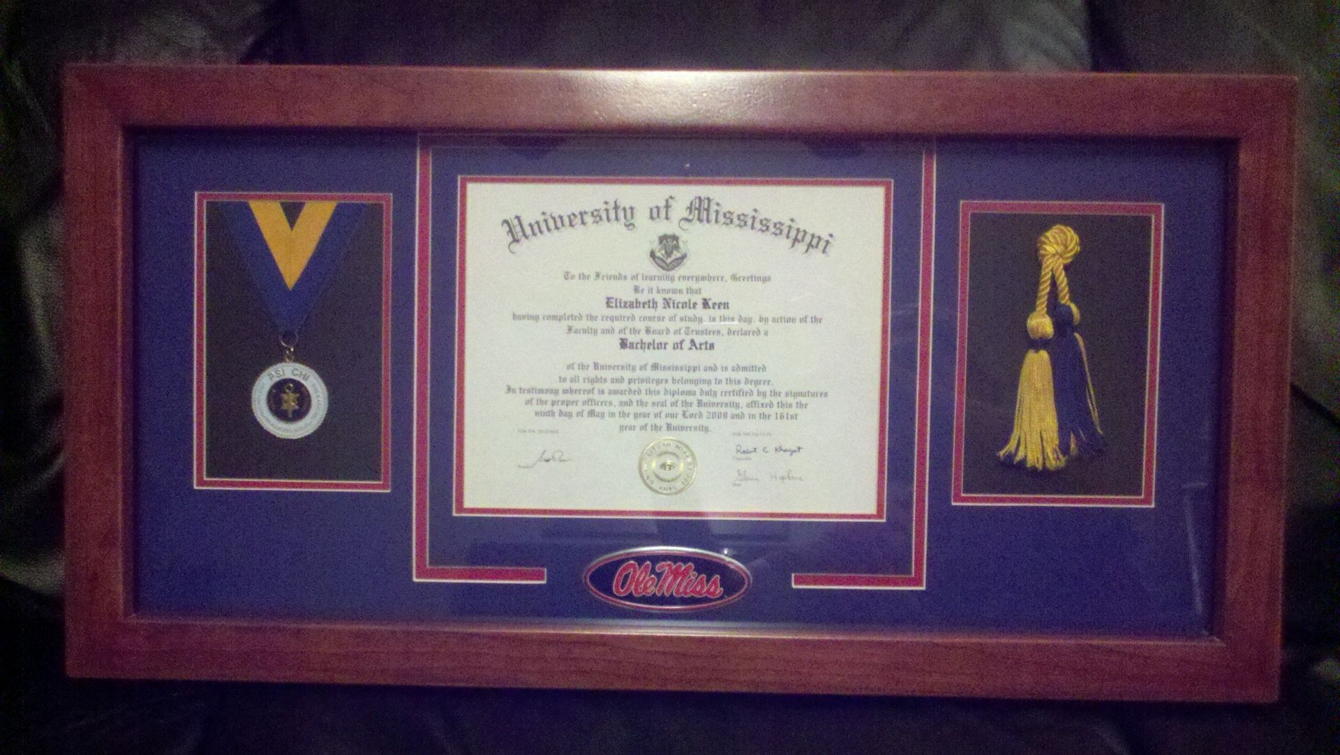 Hand Made Framed Diploma Display Case By Paladin