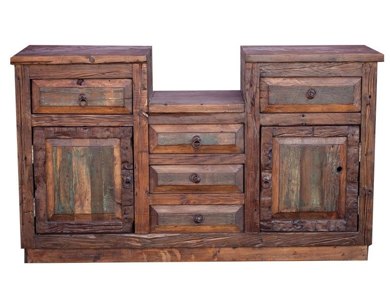 Hand made double sink barnwood vanity by foxden decor for Custom double sink bathroom vanity