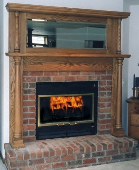 Custom fireplace mantel with mirror by port wood works for Mirror for above fireplace mantel