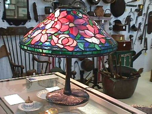 Custom Made Peony Tucked Stained Glass Lamp Shade
