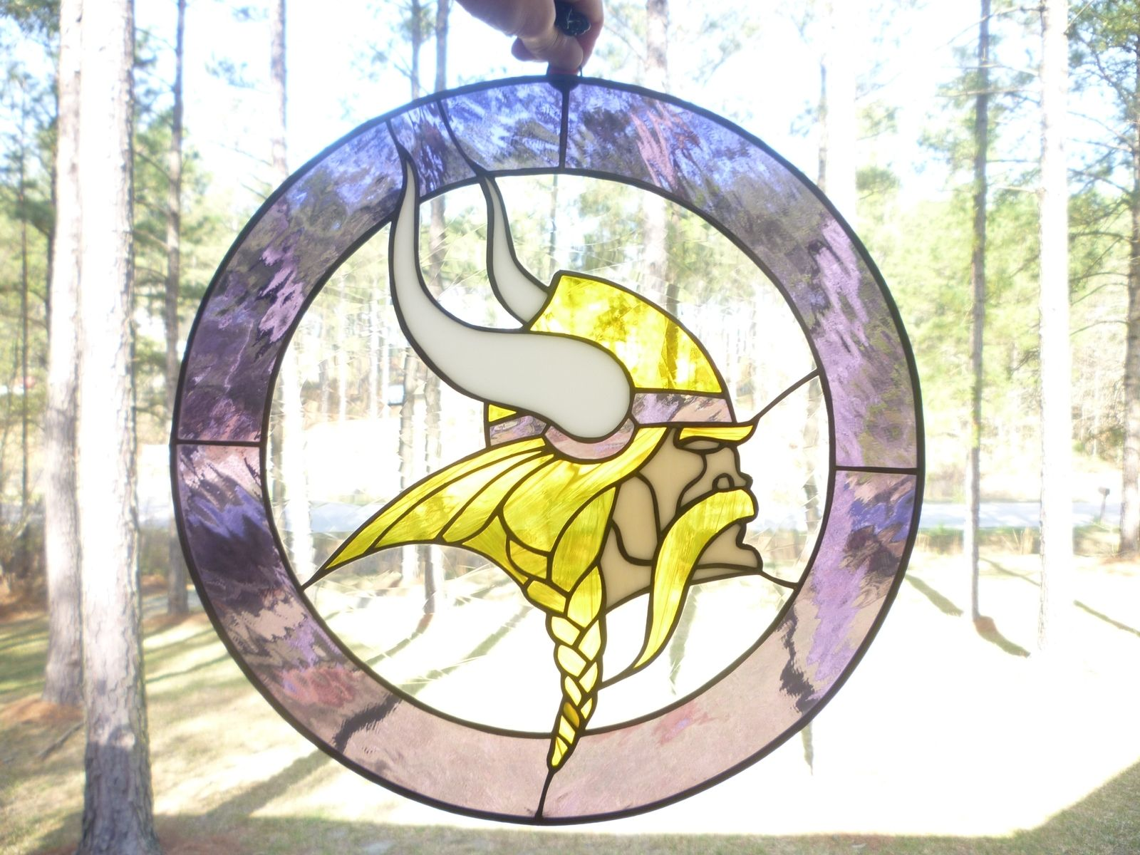 Hand Made Minnesota Vikings Sports Stained Glass Panel By
