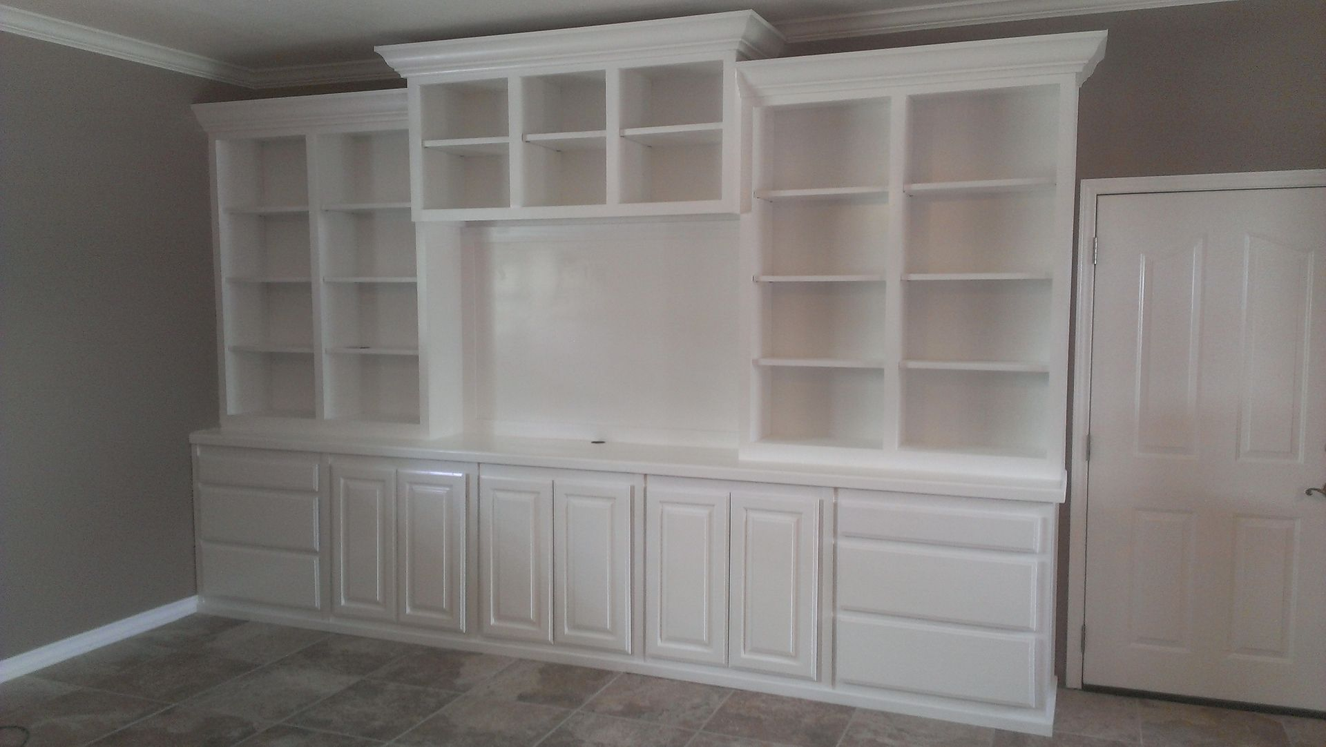Hand crafted large white wall unit by top quality cabinets How to build an entertainment wall unit