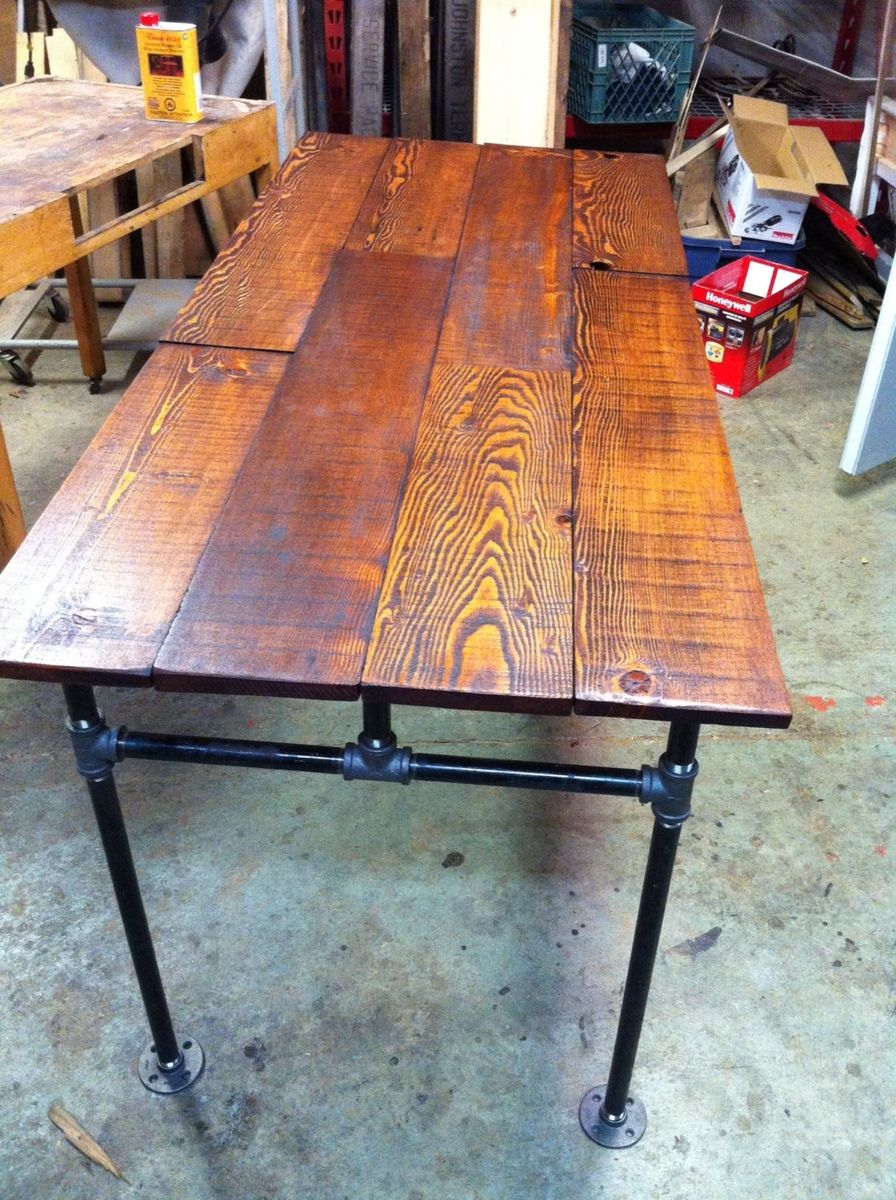 Custom Made Barn Wood Fir And Cast Iron Pipe Desk By J Amp S