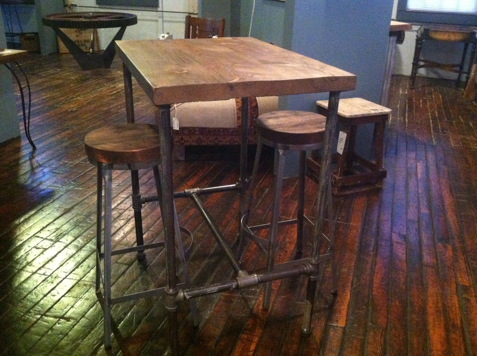 Hand Made Pipe Base Pub Table With Reclaimed Wood Top by Reworx ...