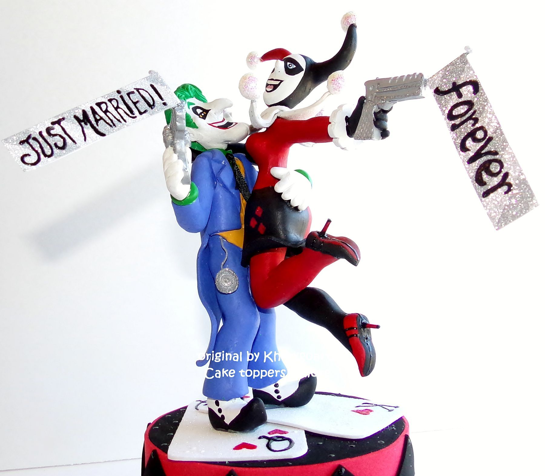 Handmade The Joker And Harley Quinn Wedding Cake Topper By