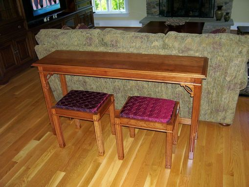 custom sofa table with benchs by d n yager woodworks. Black Bedroom Furniture Sets. Home Design Ideas