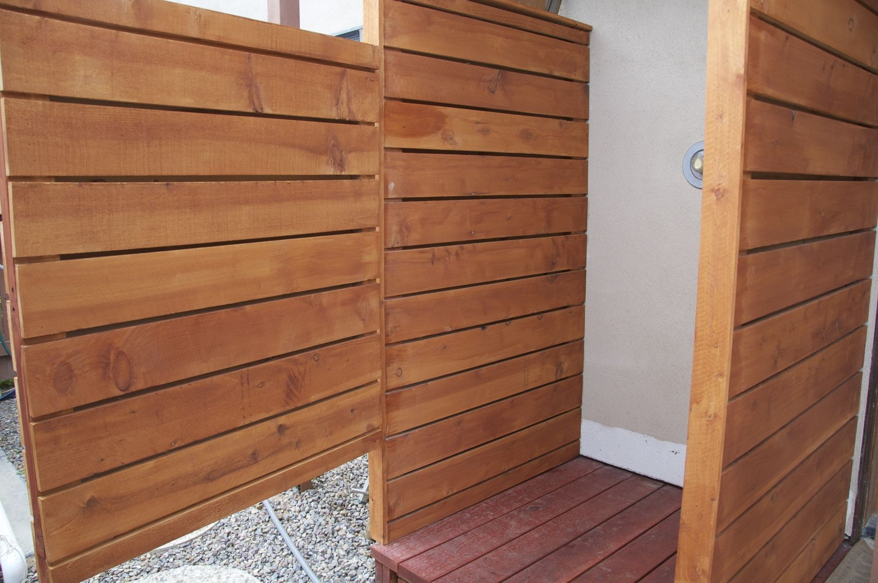 Hand Crafted Exterior Cedar Redwood Shower Enclosure By