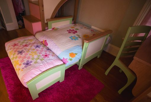 Handmade Girl S Twin Loft Bunk Bed With Stairs Futon And Desk By Sahn Lee Crafts Llc