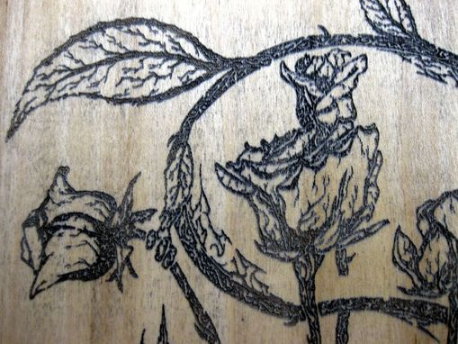 "Custom Made 7 1/4""X10"""" Wood Laser Engraved Rose Dragon"
