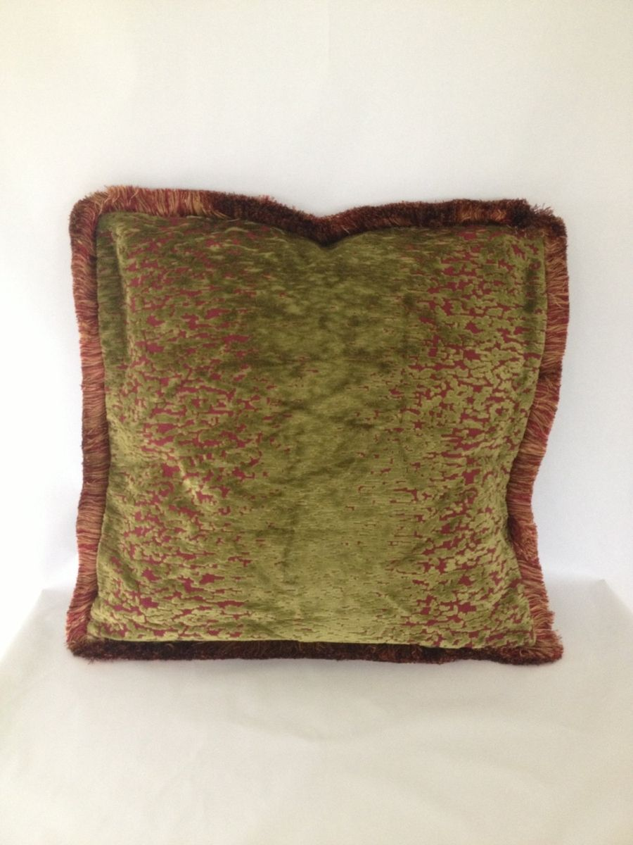 Handmade 2 Moss Green And Red Pillow Covers by Fenia s Workroom CustomMade.com